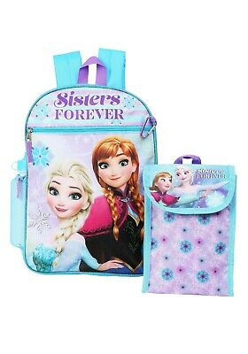 Disney Frozen Elsa Anna Girls School Backpack Lunch Box Book Bag 5 Piece SET