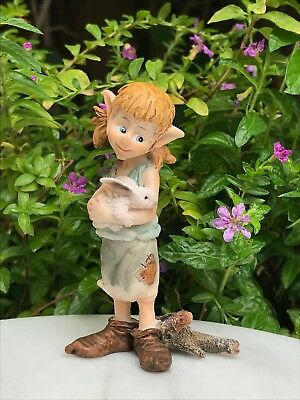 Miniature FAIRY GARDEN Figurine ~ Mini Pixie Girl Hugging Bunny Rabbit ~ NEW