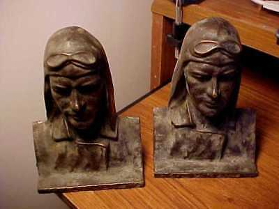 Rare Signed Sargent Bronze Bookends Airship Lindbergh Equisite Details