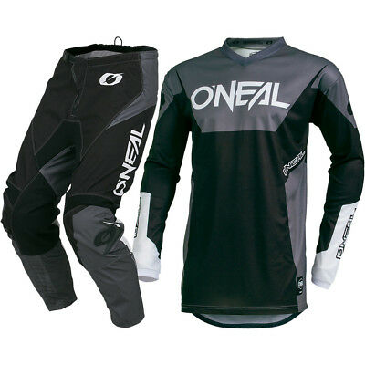 NEW Oneal 2019 MX Element Racewear Black Grey Jersey Pants Motocross Gear Set