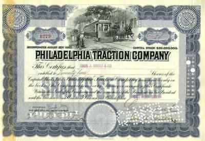 1905 Philadelphia Traction Stock Certificate signed by George Widener
