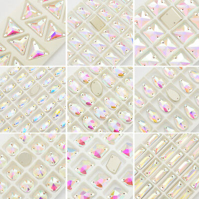 FancyElement Glass Clear AB Crystal Sew on Rhinestone Flatback Sewing Beads Gems