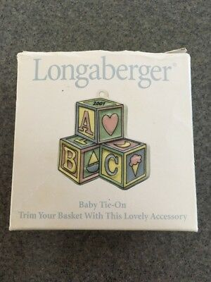 2001 Longaberger Pottery Baby Basket Tie On new Usa ~ A B C Blocks