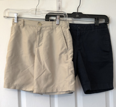 Two (2) Pair Kids (Girl or Boy) Shorts, Blue Lands End 12, Beige Champion 6-7