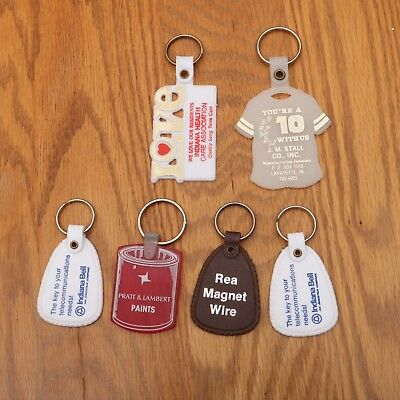 Vtg Keychains Keyholders Rings Advertising Lot 6 Key Chain Holder Lafayette IN