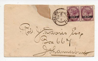 1890 ZULULAND SOUTH AFRICA COVER, 1d SG#2 IN PAIR, RORKES DRIFT CANCEL