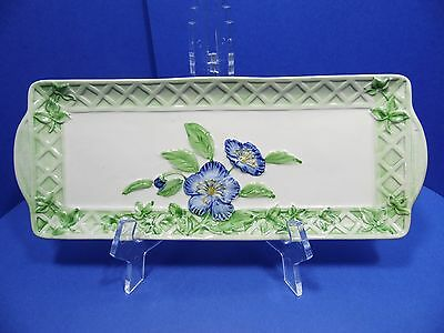 Andrea by Sadek Platter Jay Willfred Portugal Oblong Tray Blue Green Floral