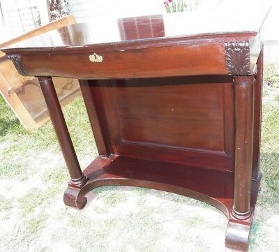 Antique Empire Mahogany Console Hall Pier Table with Drawer Petticoat style