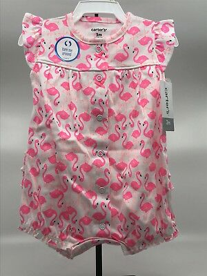 44b63ac3a447 CARTER S FLAMINGO SNAP Up Cotton Romper - 3M - New with Tags ...