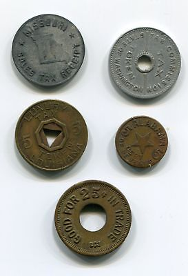 Luxury Tax & Trade Token Lot: Alabama, Louisiana, Missouri, Washington c.1930-50