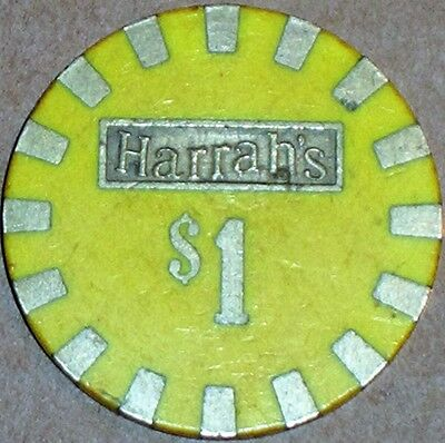 Old $1 HARRAHS Casino Poker Chip Vintage Antique Brass PMSC Mold Reno NV 1980