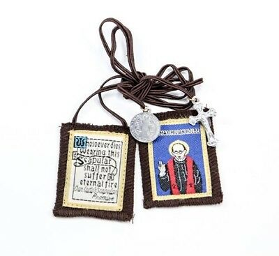 Traditional Our Lady of Mt. Carmel Brown Scapular w/  St Maximilian Kolbe Image