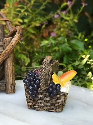 Miniature Dollhouse FAIRY GARDEN Accessories ~ Small Picnic Basket with Fruit