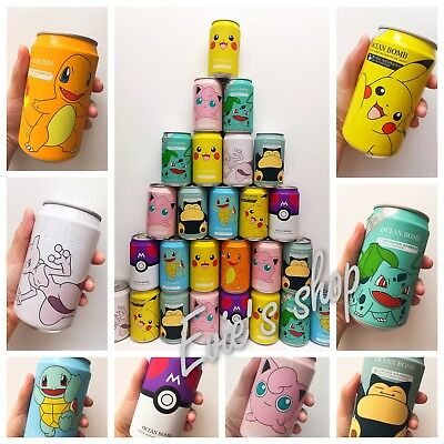 Pokemon Pikachu Jigglypuff Bulbasaur Squirtle Charmander  9 Cans Soft Drinks