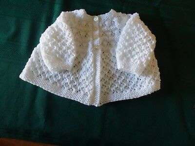 NEW - Hand knitted baby matinee jacket white 3ply