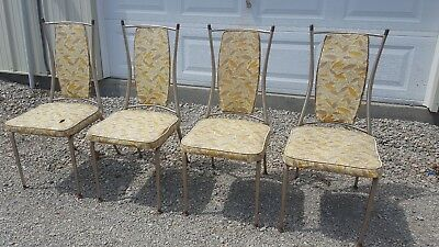 4 Vintage Antique Metal Mid-Century Vinyl Kitchen Dining Dinette Chairs 50s 60s