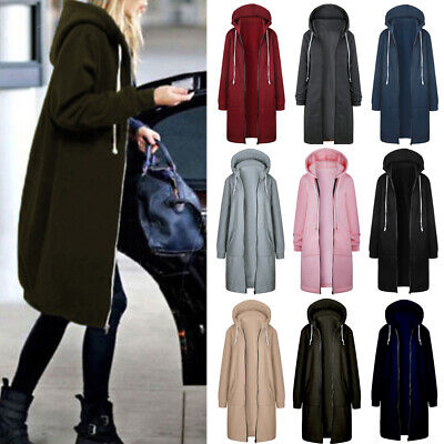 2019 UK Womens Casual Zip Ladies Hoodie Tops Jacket Cardigan Overcoat Parka Coat