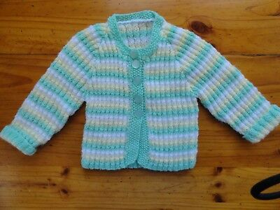 Baby Hand Knitted Uni Sex Cardigan In White,Mint & Yellow  / Chest..44 Cm