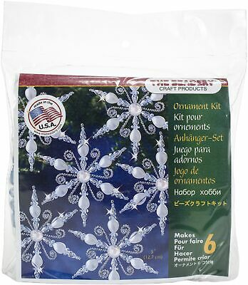 Holiday Beaded Ornament Kit-Light Sapphire Snowflake Makes 6
