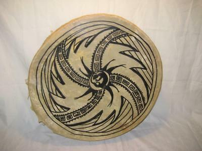 "Vintage Native American Style Hand Painted Two-Sided Drum  ~ 19"" X 4.5"" ~ AS IS"