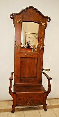 Antique Quarter sawn Rustic HALL TREE Tall  Narrow Seat Bench early 1900's