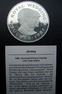 """GB(Jersey): 2 Pounds """"Royal Wedding - Charles & Diana"""" 1981, Silber 925, PP"""
