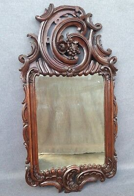 Antique french black forest mirror early 1900's Louis XV style signed