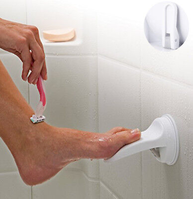 Shower Foot Rest Bathroom Shaving Leg Aid Stool Grip Mat Rack Holder Razor White