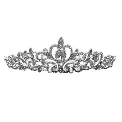 Bridal Princess Stunning Rhinestone Hair Tiara Wedding Crown Veil Headband C2Q7