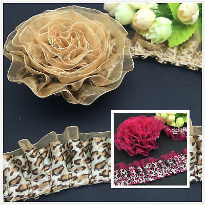 NEW DIY 3/5 Yards 2-Layer Yellow Rose Leopard Lace Gathered Pleated Trim Craft