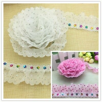 NEW 3/5 Yards White Pink 2-Layer Organza Lace Gathered Pleated Sequined Trim