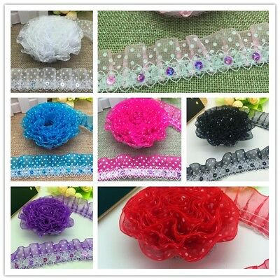 NEW DIY 3/5 Yards 2-Layer Multiple Organza Lace Gathered Pleated Sequined Trim