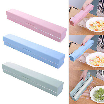 Handy Plastic Kitchen Foil And Cling Film Wrap Dispenser Cutter Storage 3 Color