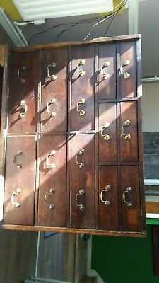 Haberdashery george pine oak lined drawers 12 dovetail joints brass handles