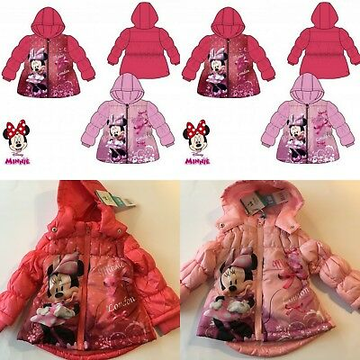 Baby Girls Disney Minnie Winter Padded Jacket Coat Hooded 3-23 months