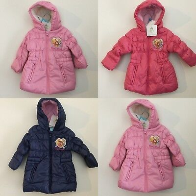 Baby Girls Disney Princess Winter Padded Jacket Coat Hooded 3-23 months