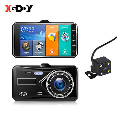 New HD 1080P 4'' Touch Screen Car DVR Dual Lens Video Recorder Camera Dash Cam