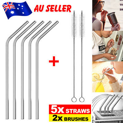 10 x Stainless Steel Straws Metal Drinking Straw Bent Long Reusable Washable AU