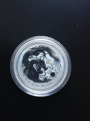 2012 Australian Perth Mint Lunar Year of the Dragon 1oz .999 Silver Coin