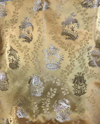 Vintage French Lyon Silk Damask Jacquard Chinoiserie Fabric