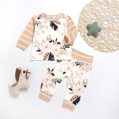 Flower Stripe Baby Kids Girls Long Sleeve Top T-Shirt Pants Clothes Set Nice