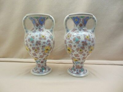 Gouda pottery 2 handle vases marked Zuid-Holland, yearsign 1918 height 12 inch.