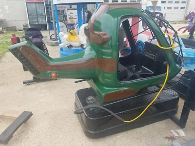 Pre-Owned Electric Green Helicopter Store Front Kiddie Ride Works Good