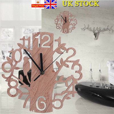 UK Wooden Wall Clock Artistic Big Tree Shape Modern Wall Watches Home Decor Gift
