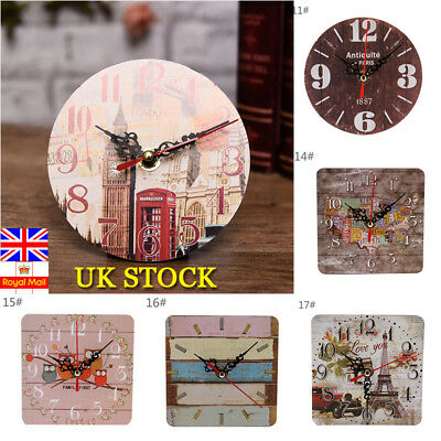 Wooden Home Decor Wall Clock Vintage Rustic Shabby Chic Style Cafe Office Decor