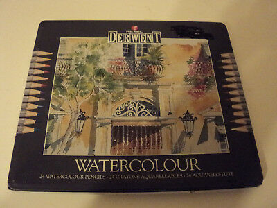 tin of 21 (of 24) DERWENT WATERCOLOUR colour pencils