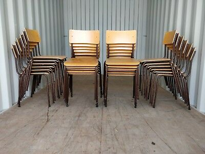 Job Lot of 25 Vintage Metal and Plywood Stacking Chairs - Cafe Bar Restaurant