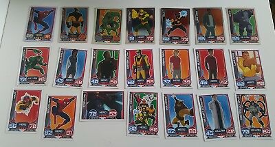 37 Topps Marvel HERO ATTAX Ultimate Spiderman trading cards inc shiny Limited Ed