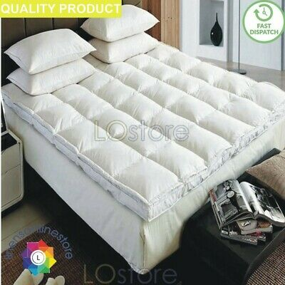 New Luxury Soft Comfortable Duck Feather & Down Mattress Topper Cover & Pillows