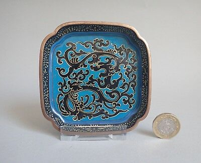 Antique Chinese Canton Enamel Dragon and Pheonix Square Dish Qing c.1800